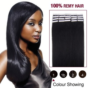 "24"" Jet Black(#1) 20pcs Tape In Human Hair Extensions"