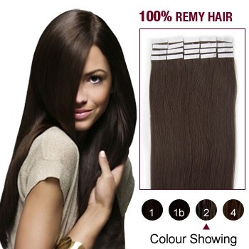 "24"" Dark Brown(#2) 20pcs Tape In Human Hair Extensions"