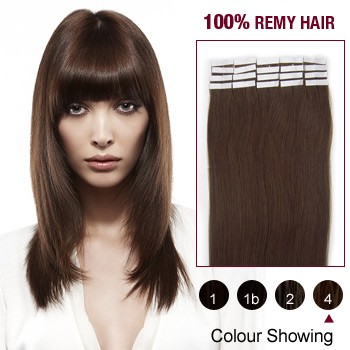 "18"" Medium Brown(#4) 20pcs Tape In Human Hair Extensions"