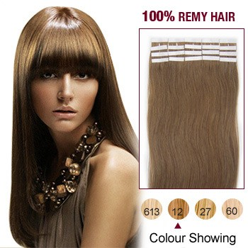 "24"" Golden Brown(#12) 20pcs Tape In Human Hair Extensions"