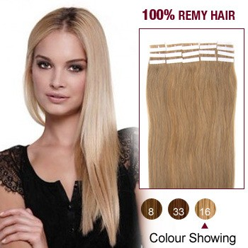 """20"""" Golden Blonde(#16) 20pcs Tape In Human Hair Extensions"""