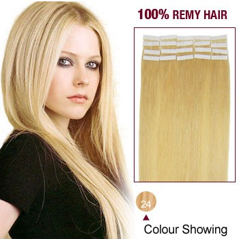 "20"" Ash Blonde(#24) 20pcs Tape In Human Hair Extensions"