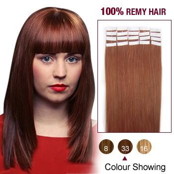 "22"" Dark Auburn(#33) 20pcs Tape In Remy Human Hair Extensions"