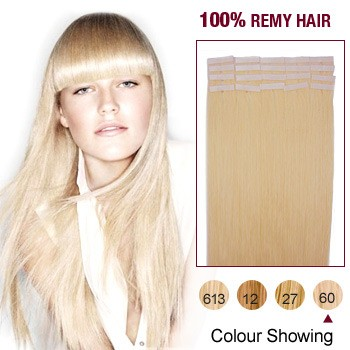 "24"" White Blonde(#60) 20pcs Tape In Human Hair Extensions"