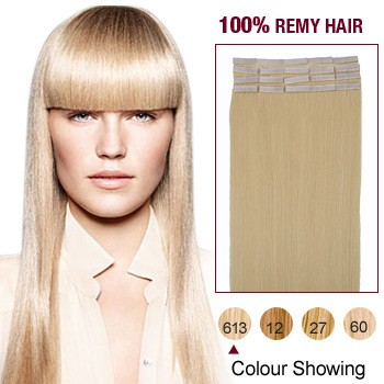 "16"" Bleach Blonde(#613) 20pcs Tape In Human Hair Extensions"