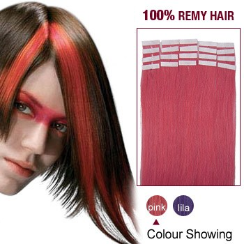 "16"" Pink 20pcs Tape In Human Hair Extensions"