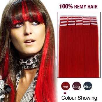 "18"" Red 20pcs Tape In Human Hair Extensions"