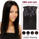 """18"""" Nature Black(#1b) 12pcs Clip In Remy Human Hair Extensions"""