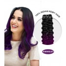 """16"""" #1B/Violet Ombre Curly 100% Remy Human Hair"""