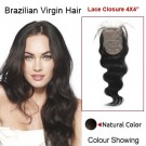 "16"" Natural Black Body Wave 100% Brazilian Virgin Hair Lace Closure/Top Closure"