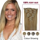 """22"""" Blonde Highlight(#18/613) 7pcs Clip In  Human Hair Extensions"""