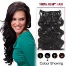 """20"""" Natural Black(#1b) 7pcs Clip In  Remy Human Hair Extensions"""