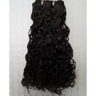 "24"" Natural Black(#1b) Curly Indian Remy Hair Wefts"