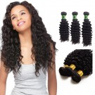 12/14/16 Inches Deep Curly Natural Black Virgin Brazilian Hair