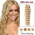 "18"" Bleach Blonde(#613) Deep Wave Indian Remy Hair Wefts"