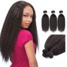 16 Inches*3 Kinky Straight Natural Black Virgin Peruvian Hair