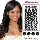 """20"""" Natural Black(#1b) 100S Curly Micro Loop Remy Human Hair Extensions"""