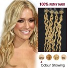 """20"""" Bleach Blonde(#613) 100S Curly Micro Loop Remy Human Hair Extensions"""