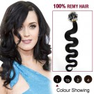 "20"" Jet Black(#1) 100S Wavy Micro Loop Remy Human Hair Extensions"