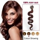 "20"" Dark Auburn(#33) 100S Wavy Micro Loop Remy Human Hair Extensions"