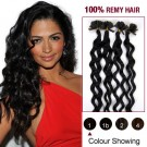 """20"""" Jet Black(#1) 100S Curly Nail Tip Remy Human Hair Extensions"""