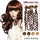 "20"" Dark Auburn(#33) 100S Curly Nail Tip Remy Human Hair Extensions"