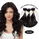 16 Inches Tip Curl Indian Virgin Hair Wefts