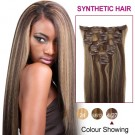 """22"""" Brown/Blonde(#4/27) 7pcs Clip In Synthetic Hair Extensions"""