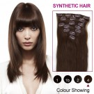 """16"""" Medium Brown(#4) 7pcs Clip In Synthetic Hair Extensions"""
