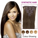 """16"""" Ash Brown(#8) 7pcs Clip In Synthetic Hair Extensions"""