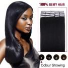 "18"" Jet Black(#1) 20pcs Tape In Human Hair Extensions"