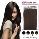 """18"""" Dark Brown(#2) 20pcs Tape In Human Hair Extensions"""