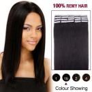 "24"" Natural Black(#1b) 20pcs Tape In Human Hair Extensions"