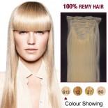 """18"""" Bleach Blonde(#613) 7pcs Clip In  Human Hair Extensions"""