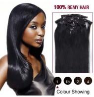 "16"" Jet Black(#1) 7pcs Clip In  Human Hair Extensions"