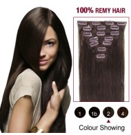 """16"""" Dark Brown(#2) 7pcs Clip In  Remy Human Hair Extensions"""