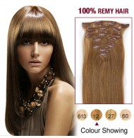 """16"""" Golden Brown(#12) 7pcs Clip In  Human Hair Extensions"""