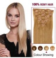 "16"" Golden Blonde(#16) 7pcs Clip In  Human Hair Extensions"
