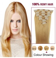 """16"""" Strawberry Blonde(#27) 7pcs Clip In  Remy Human Hair Extensions"""