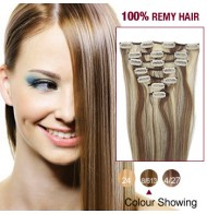 """24"""" Brown/Blonde(#8/613) 7pcs Clip In  Human Hair Extensions"""