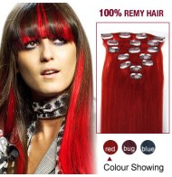 """22"""" Red 7pcs Clip In  Human Hair Extensions"""
