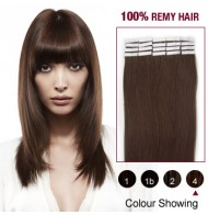 "16"" Medium Brown(#4) 20pcs Tape In Human Hair Extensions"