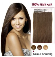 "16"" Ash Brown(#8) 20pcs Tape In Human Hair Extensions"