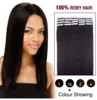 "16"" Natural Black(#1b) 20pcs Tape In Human Hair Extensions"