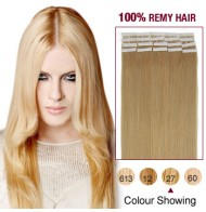 """16"""" Strawberry Blonde(#27) 20pcs Tape In Human Hair Extensions"""