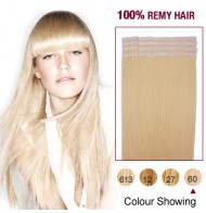 """16"""" White Blonde(#60) 20pcs Tape In Human Hair Extensions"""