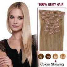 """20"""" Golden Blonde(#16) 12pcs Clip In Remy Human Hair Extensions"""