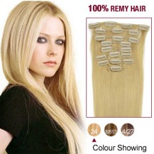 """20"""" Ash Blonde(#24) 12pcs Clip In Remy Human Hair Extensions"""