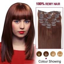 "16"" Dark Auburn(#33) 12pcs Clip In Remy Human Hair Extensions"