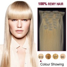 """20"""" Bleach Blonde(#613) 12pcs Clip In Remy Human Hair Extensions"""